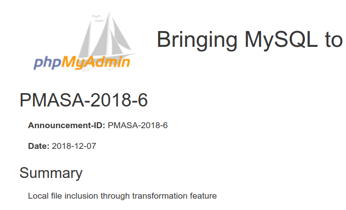 phpMyAdmin 4 8 0~4 8 3 Local File Inclusion in Transformation